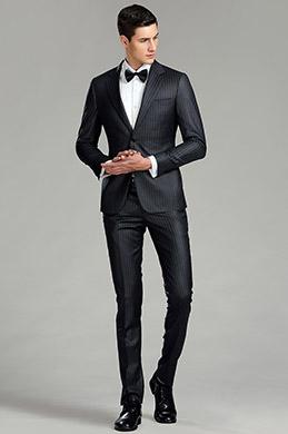 Black Vertical Stripes Custom Men Suits Business Suits (15180400)