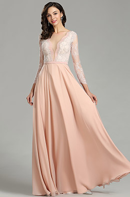 eDressit Beautiful Long Sleeve Pink Lace Prom Dress (02180901)