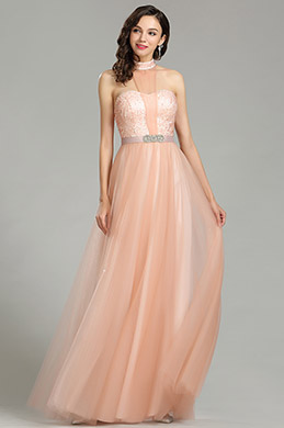 eDressit Glamorous Halter Peach Sequin Prom Dress (00181301)