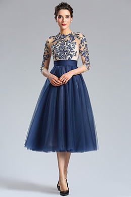 eDressit Blue Sleeves Embroidery Beaded Cocktail Evening Gown (04180905)