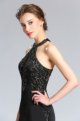 eDressit Sexy Black Halter Beaded Prom Evening Dress (36182300)