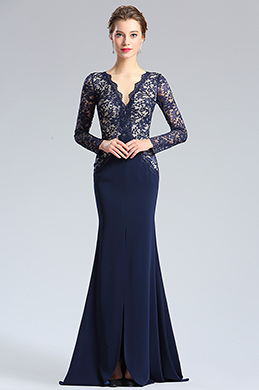 eDressit Blue V-cut Neckline Lace slit Prom Evening Dress (26181405)
