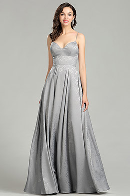 eDressit Grey Spaghetti Straps Designer Dressing Gown (00181608)