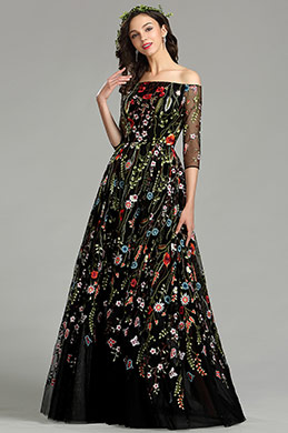 eDressit Long Black Off the Shoulder Floral Lace Dress (02181000)