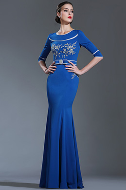 eDressit Blue Floral Lace Evening Dress with Sleeves (26180905)