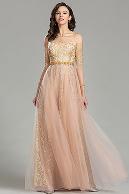 eDressit Gold & Blush Beaded Quinceanera Evening Dress (26180424)