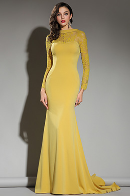 eDressit Long Sleeves Yellow Lace Dress Evening Gown (02181703)