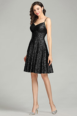 eDressit Sequins Short Black Cocktail Evening Dress (04180600)