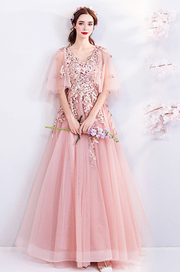 eDressit Pink Cape V-Cut Embroidery Party Prom Dress (36193701)