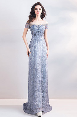 eDressit New Grey-Blue Sequins Lace Long Party Ball Dress (36206532)