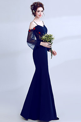 eDressit Navy Blue Spaghetti Elegant Sleeves Party Prom Dress (36205605)
