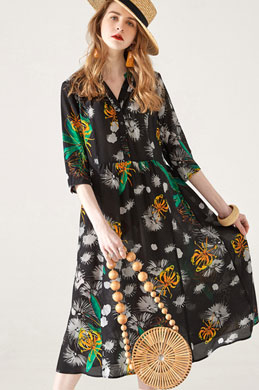 eDressit Chic Silk V Col Printed Dress Summer Dress (30193500)