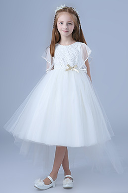 eDressit White Tulle Short Sleeves Wedding Flower Girl Party Dress (28197807)