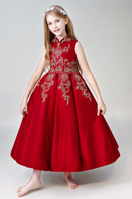 eDressit Bordeaux Sleeveless Long Flower Girl Dress (27204617)