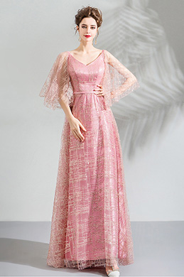 eDressit Unique Pink V-Cut Shiny Formal Party Ball Dress (36211201)
