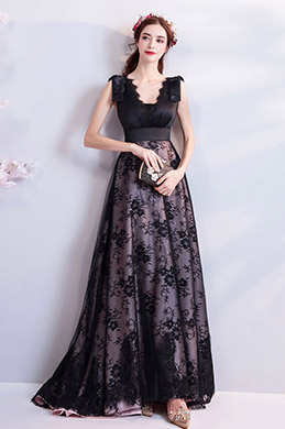 eDressit Sexy Black Lace Applique Elegant Party Prom Dress (36204700)