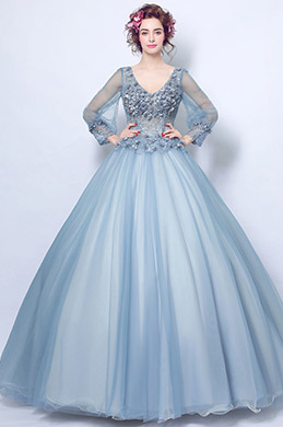 eDressit Blue-Grey V-Cut Floral Puffy Party Ball Evening Dress (36199332)