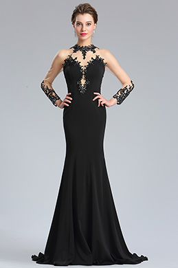 eDressit Black High Halter Neck Back Button Evening Gown (26181700)