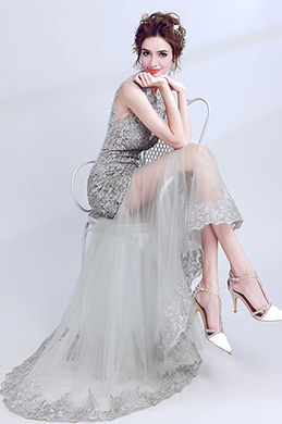 eDressit Grey Lace Sleeveless Tulle Party Evening Gown (36192108)