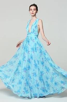 eDressit Blue V-Cut Strap Print Floral Evening Party Dress (00183168M)