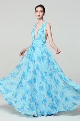 eDressit Imprimé Bleu Robe de Soirée Florale V Col (00183168M)
