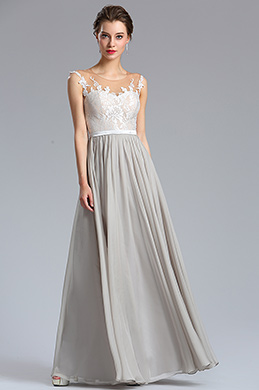eDressit Elegant A Line Sleeveless Grey Chiffon Evening Dress (00182308)