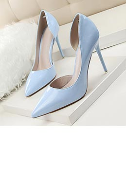 Women's Fashion High Heel Patent Closed Toe Pumps Shoes (0919012)