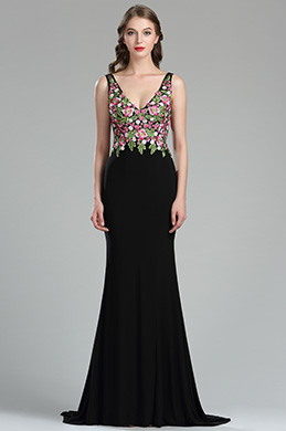 eDressit Sexy Floral Embroidery Long Black Evening Dress (36180768)