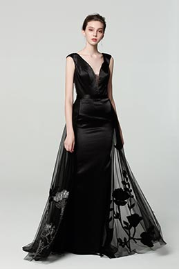 eDressit New Black V-Neck Overlay Prom Gown Evening Dress (00190400)
