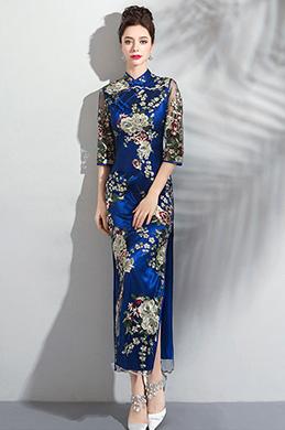 eDressit Robe de Soirée Bleu Brodée à Col Haut Avec Manches (36200305)
