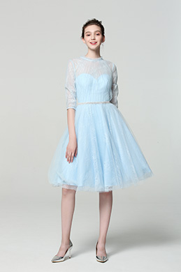 eDressit Fresh Blue High Neck Tulle Cocktail Party Dress (04190132)