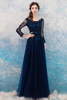 eDressit Sexy Beaded Lace Sleeves Long Tulle Evening Dress (36208205)