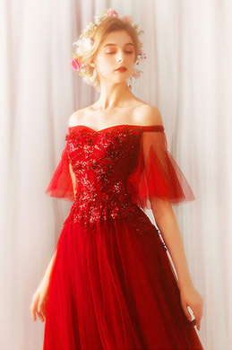eDressit Red Off Shoulder Sleeves Sequins Party Evening Dress (36206002)