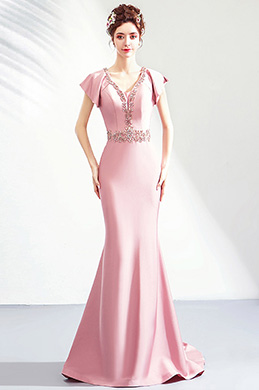 eDressit Pink Beaded Neckline Cap Sleeves Women Formal Dress (36202801)