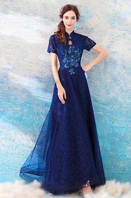 83995b69268 eDressit Blue Unique High Neck Sleeves Evening Party Dress(36203605)
