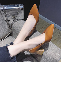 Women Block Heels Closed Toe Pumps Shoes (0919087)