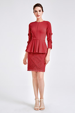eDressit Red Ruffle Party Mother of the Bride Dress (26190602)