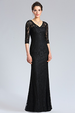 eDressit Black Long Sleeves overlace Evening Dress (36183900)