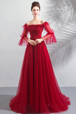 eDressit Red Off Shoulder Sleeves Party Evening Dress (36198602)