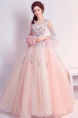 eDressit Robe de Soirée Longue En Tulle Rose Avec Broderies (36195401)