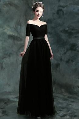 Сексуальное черное платье для женщин с открытыми плечами (36190300)