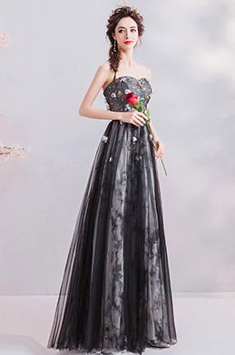 eDressit Sexy Corset Black Floral Party Evening Ball Dress (36212000)