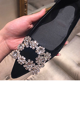 Women Suede Toe Closed Rhinestone Flat Shoes (0919104)