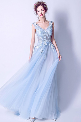 eDressit Sexy Light Blue V-Cut Tulle Party Evening Dress (36194105)