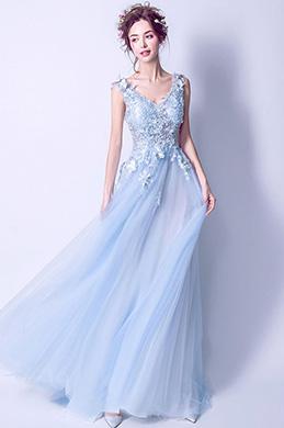eDressit Robe de Soirée Sexy En Tulle Bleu Clair à Col en V (36194105)