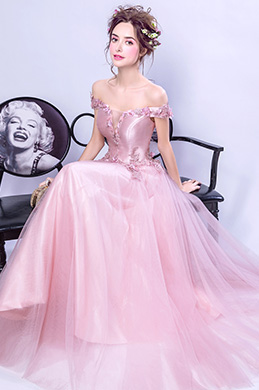 eDressit Pink Off Shoulder Floral Lace Party Ball Dress (36201901)
