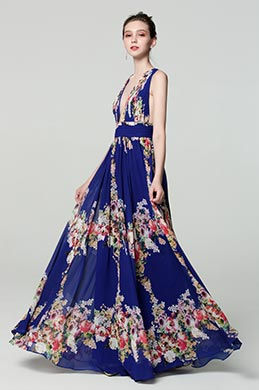 eDressit Plunging V-Cut Strap Print Floral Evening Dress (00183168I)