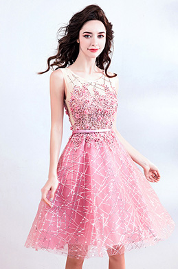 eDressit Bright Pink Beaded Cute Cocktail Party Dress (35191401)