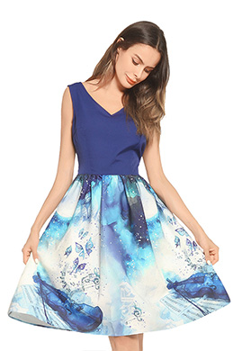 eDressit V-cut Printed Blue Day Dress Cocktail Dress (35194868)