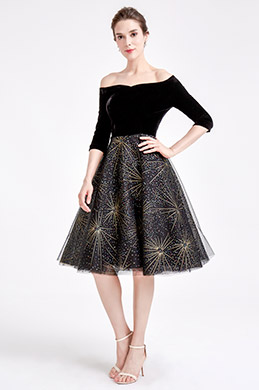 eDressit Off Shoulder Black Velvet Sparkle Skirt Short Dress (04190400)
